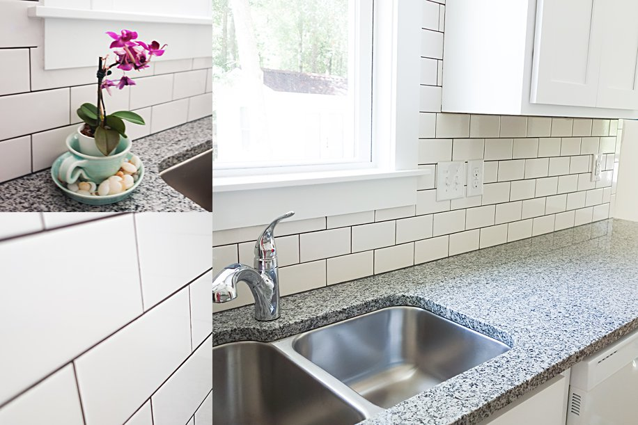 Cheap Thrift Store Finds DIY Kitchen Backsplash using Subway Tile