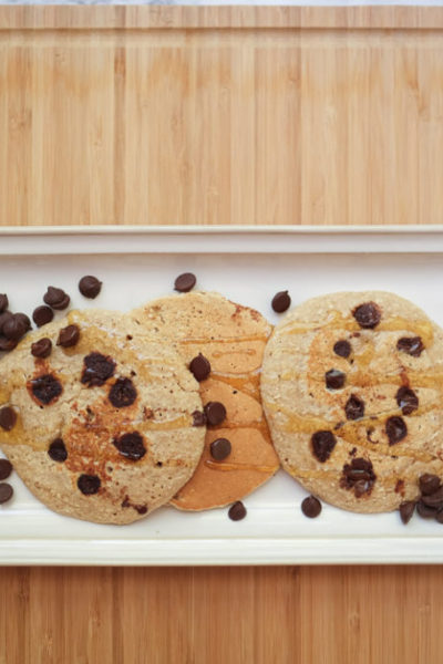Oatmeal Dark Chocolate Chip Pancakes; healthy snack or breakfast