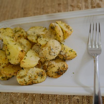 Roasted Parmesan Parsley Potatoes Recipe; harvested fresh garden to table